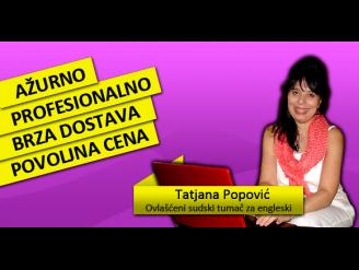 Sudski tumač za engleski jezik Tatjana Popović