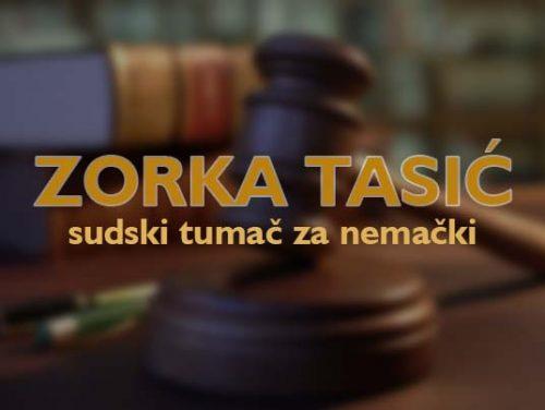 Sudski tumač za nemački jezik Zorka Tasić